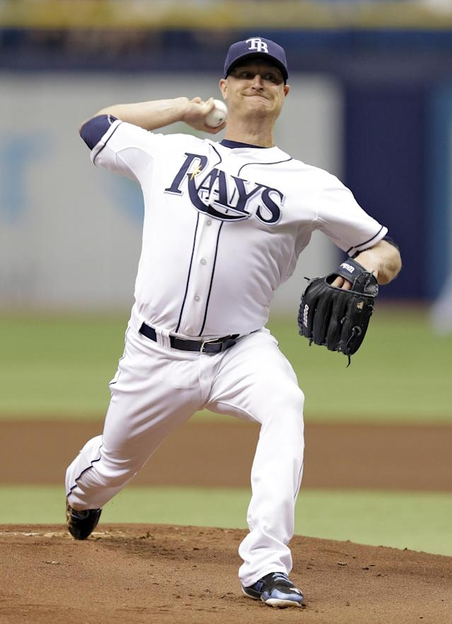 Tampa Bay Rays starting pitcher Alex Cobb delivers to the Baltimore Orioles during the first inning of a baseball game Wednesday, June 18, 2014, in St. Petersburg, Fla. (AP Photo/Chris O'Meara)