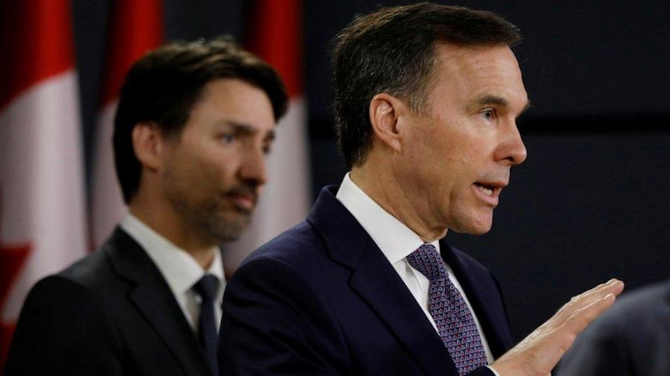 "Canada""s Minister of Finance Bill Morneau attends a news conference with Prime Minister Justin Trudeau in Ottawa, Ontario, Canada March 11, 2020"