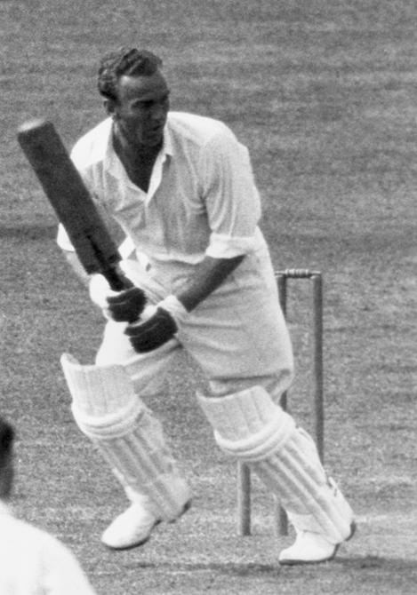 1938:  CHECK HI-RES IF SUPPLYING DIGITALLY England and Nottinghamshire batsman, Joseph Hardstaff Junior (1911 - 1990), in bat against Surrey at Nottingham.  (Photo by Central Press/Getty Images)