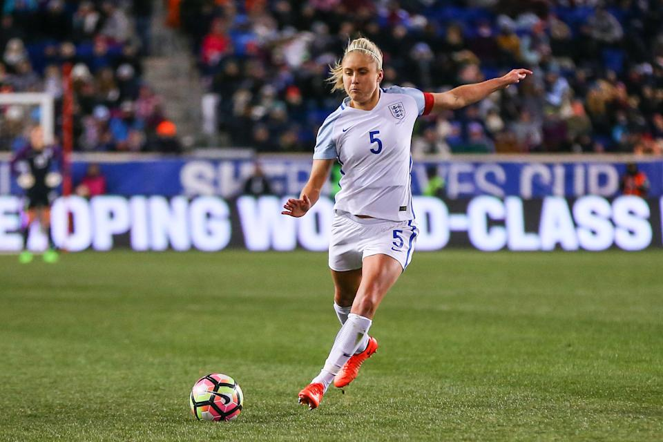 HARRISON, NJ - MARCH 04:  England defender Steph Houghton (5) during the second half of the SheBelieves Cup game between the United States of America and England played on March 4,2017, at Red Bull Arena in Harrison, NJ. England defeats the USA 1-0.   (Photo by Rich Graessle/Icon Sportswire via Getty Images)