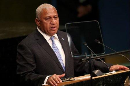 FILE PHOTO: Prime Minister Frank Bainimarama of Fiji addresses the 71st United Nations General Assembly in Manhattan, New York, U.S. September 20, 2016. REUTERS/Carlo Allegri