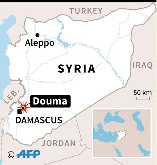 Map of Syria, where new raids on a rebel-held stronghold killed at least 54 civilians on Monday (AFP Photo/AFP)