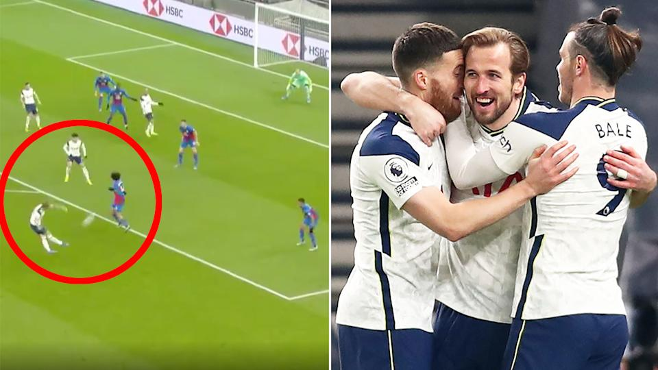 Pictured here, Harry Kane is hugged by teammates after scoring a wonder goal for Spurs.