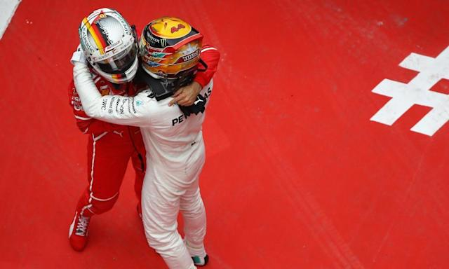 "<span class=""element-image__caption"">Lewis Hamilton, right, and Sebastian Vettel embrace after their duel at the Chinese Grand Prix.</span> <span class=""element-image__credit"">Photograph: Clive Mason/Getty Images</span>"