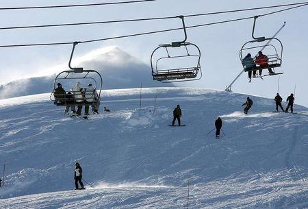 "People spend their day at the ""Valle Nevado"" ski center, east of Santiago, in the Los Andes mountain range"