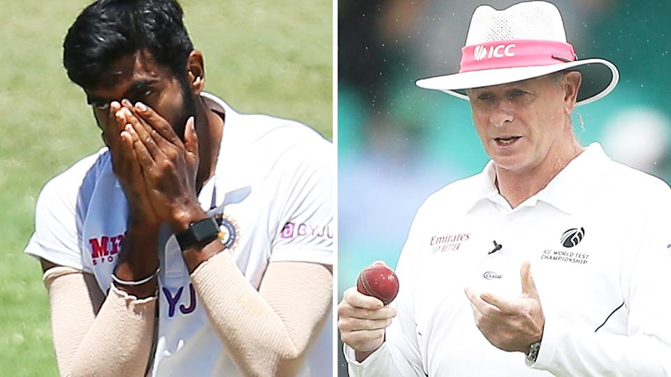 Jasprit Bumrah petulantly knocking the bails from the wicket as he walked back to his mark drew an amusing but unhappy reaction from umpire Paul Reiffel. Pictures: Getty Images