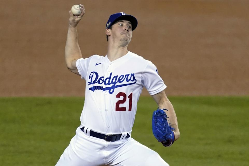 Los Angeles Dodgers starting pitcher Walker Buehler throws to a Milwaukee Brewers batter.