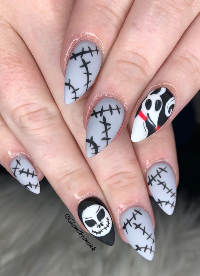 """<p>Do as <a href=""""https://www.instagram.com/p/B3h1hilALJB/"""" rel=""""nofollow noopener"""" target=""""_blank"""" data-ylk=""""slk:nail artist Annick"""" class=""""link rapid-noclick-resp"""">nail artist Annick</a> does and get stitched up (on your nails) for Halloween this year. Don't have a steady hand to free draw those lines? Use handy nail stencils to guide you!</p><p><a class=""""link rapid-noclick-resp"""" href=""""https://go.redirectingat.com?id=74968X1596630&url=https%3A%2F%2Fwww.etsy.com%2Flisting%2F643970971%2Fstitches-stencils-for-nails-halloween&sref=https%3A%2F%2Fwww.oprahdaily.com%2Fbeauty%2Fskin-makeup%2Fg33239588%2Fhalloween-nail-ideas%2F"""" rel=""""nofollow noopener"""" target=""""_blank"""" data-ylk=""""slk:SHOP STENCIL"""">SHOP STENCIL</a></p>"""