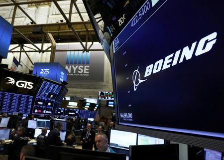 FILE PHOTO: The company logo for Boeing is displayed on a screen on the floor of the New York Stock Exchange (NYSE) in New York, U.S., March 11, 2019. REUTERS/Brendan McDermid/File Photo