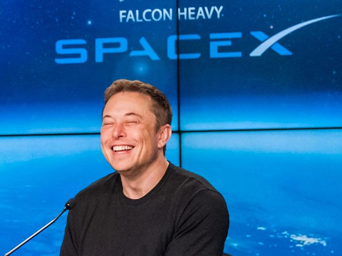Elon Musk laughs after the first launch of SpaceX's Falcon Heavy rocket from Cape Canaveral, Florida, on February 6, 2018.