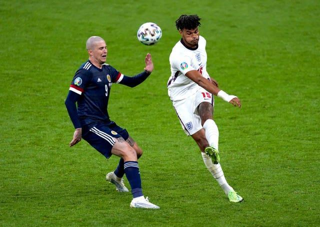Tyrone Mings in action against Scotland