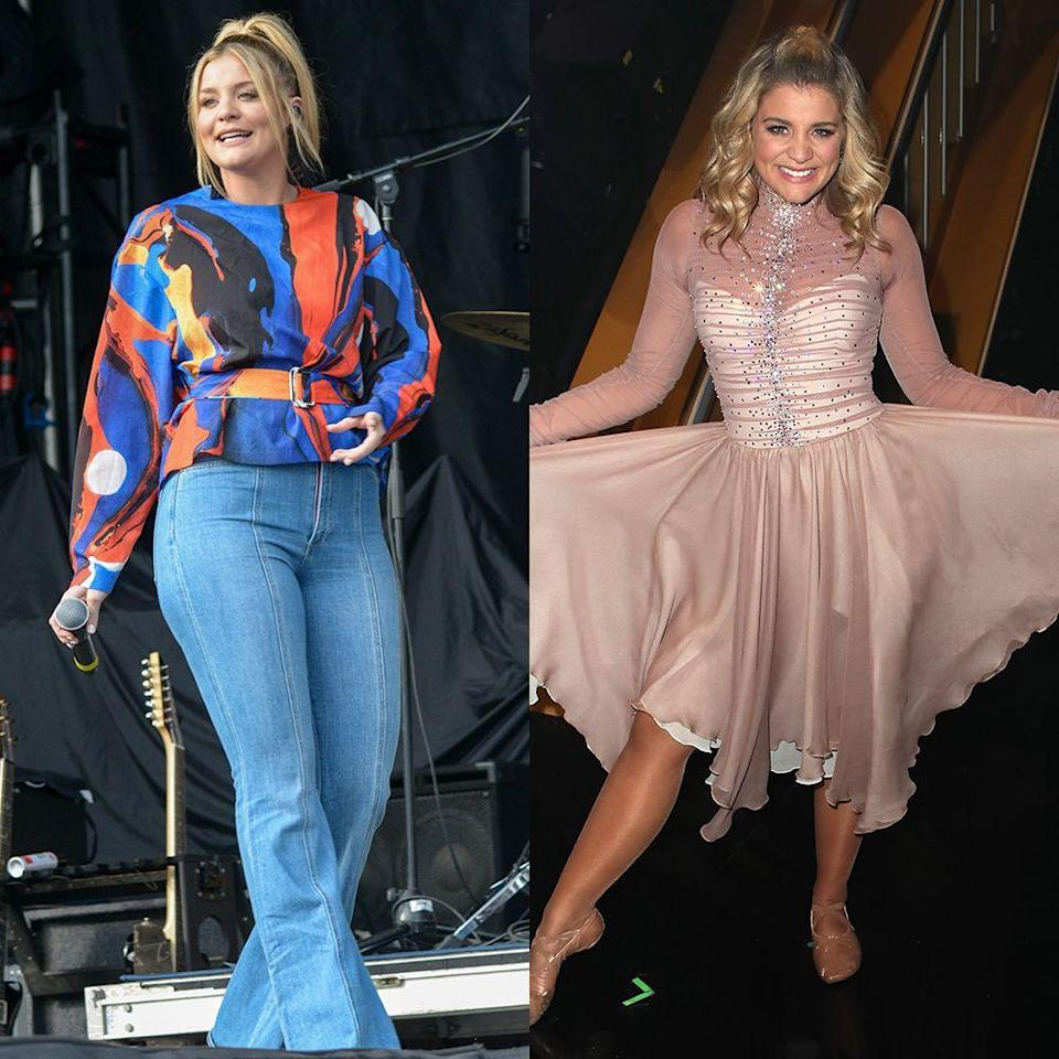 """<p>The country singer and <em>American Idol</em> alum has danced her way to serious weight loss. She was one of the top-scoring stars competing on season 28, and is leading the way in pounds lost, too. """"I've lost, like, 25 pounds since July,"""" Lauren told <em><a href=""""https://people.com/health/lauren-alaina-lost-25-lbs-dancing-with-the-stars/"""" rel=""""nofollow noopener"""" target=""""_blank"""" data-ylk=""""slk:People"""" class=""""link rapid-noclick-resp""""><em>People</em></a></em>. """"None of my clothes fit!"""" Her pro partner Gleb Savchenko added, """"You're welcome.""""</p>"""