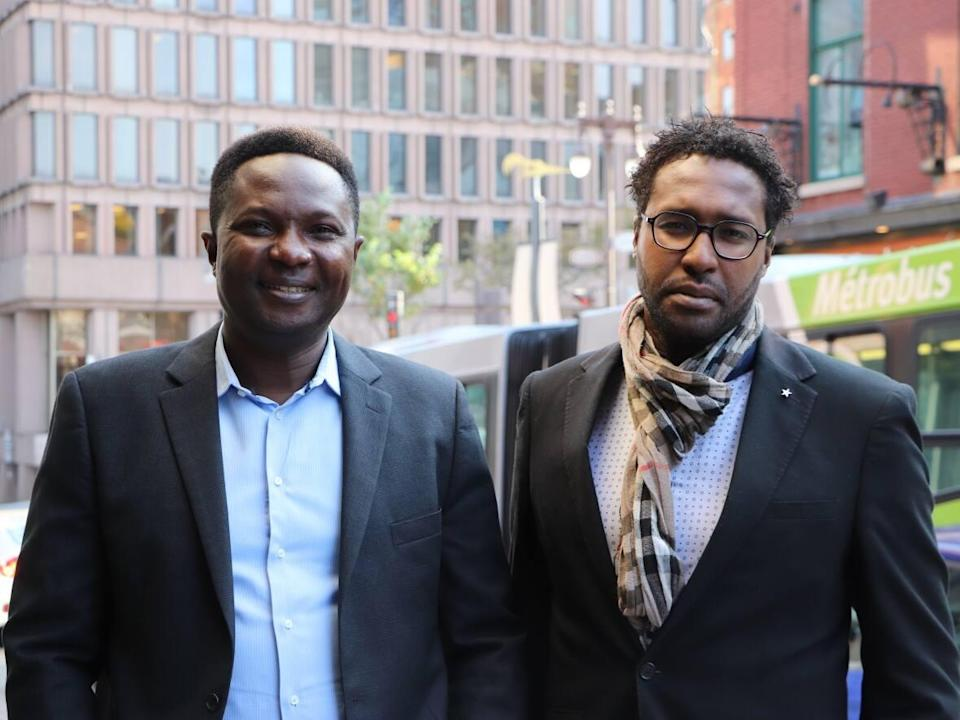 Démocratie Québec candidates Mbaï-Hadji Mbaïrewaye (left) and Bertrand de Lépinay (right) are both running to become city councilors in the 2021 municipal election in Quebec City. (Franca G. Mignacca/CBC - image credit)
