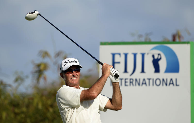 Australia's David McKenzie hits a shot on day one of the Fiji International golf tournament at Natadola Bay on August 14, 2014
