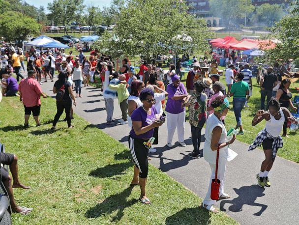 PHOTO: In this June 15, 2019, file photo, people participate in the celebration of Juneteenth in Franklin Park in Boston. (Matthew J. Lee/The Boston Globe via Getty Images, FILE)