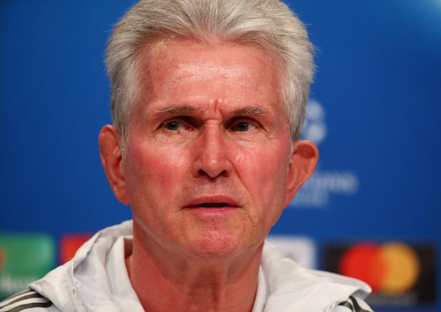 Soccer Football - Champions League - Bayern Munich Press Conference - Allianz Arena, Munich, Germany - April 24, 2018 Bayern Munich coach Jupp Heynckes during the press conference REUTERS/Michael Dalder