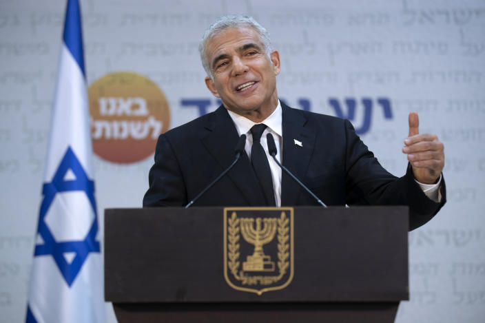 """REPLACES COMMON GOOD INSTEAD OF COMMON GROUND - Israeli opposition leader Yair Lapid, speaks during a news conference in Tel Aviv, Thursday, May. 6, 2021. Lapid called on his potential partners to find """"common good"""" and expressed optimism that a new coalition government would be formed. (AP Photo/Oded Balilty)"""