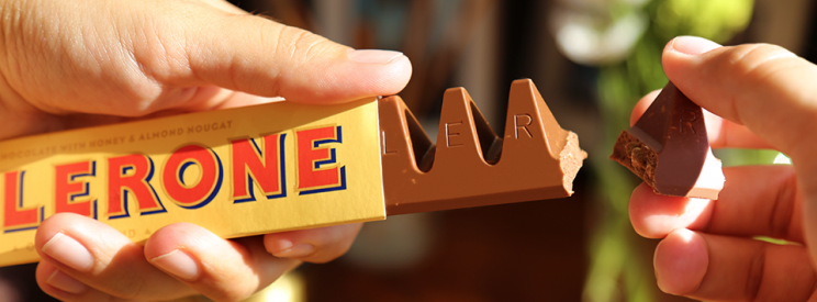 The original Toblerone with significantly smaller gaps between significantly chunkier triangles.