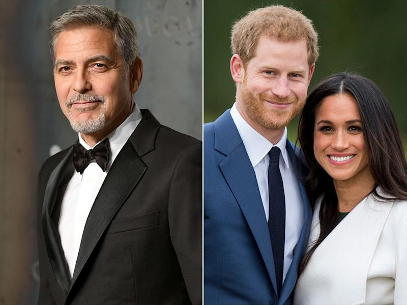 George Clooney; Prince Harry and Meghan Markle | Mike Marsland/Getty; Mark Cuthbert/UK Press via Getty