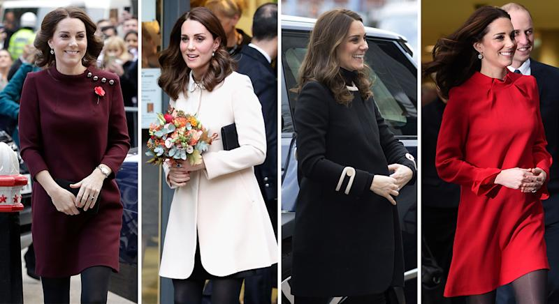 The Duchess of Cambridge has worn Goat clothing a number of times, particularly while pregnant with Prince Louis at the end of 2017 [Photos: Getty]