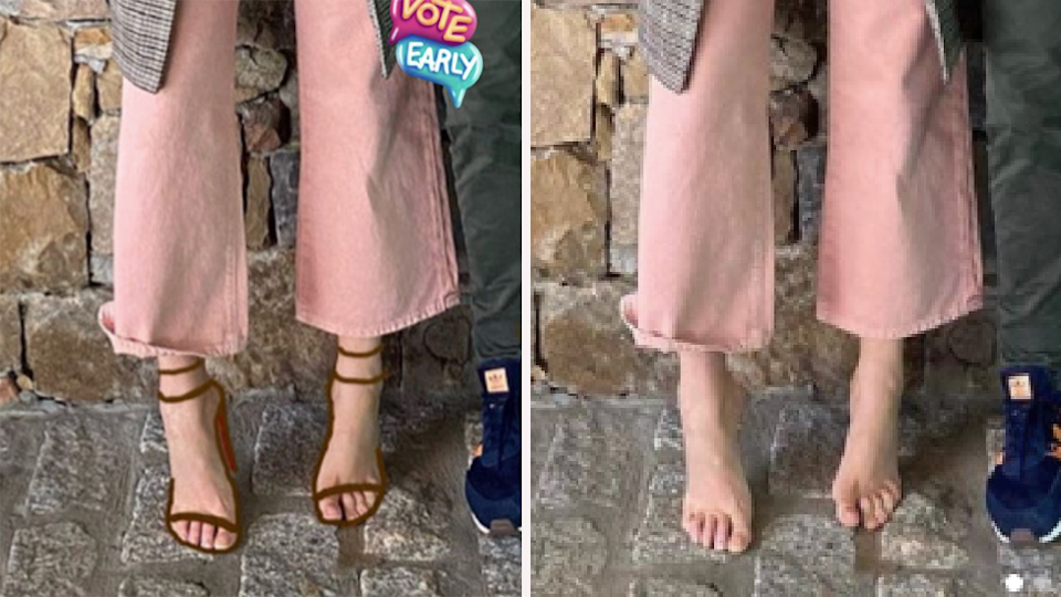 (Left) Blake Lively Instagram with shoes (right) Ryan Reynolds Instagram with bare feet