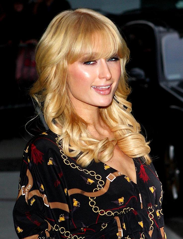 "Despite the fact that the length of her hair can be attributed to expensive extensions, we're totally on board with Paris' blond bangs. Richie Buxo/<a href=""http://www.splashnewsonline.com"" target=""new"">Splash News</a> - November 3, 2008"