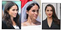 <p>Every one of Meghan Markle's make-up and hair looks - from her fresh faced look in 2005 to her signature 'Suits' blowdry and her iconic messy bun as a royal.</p>