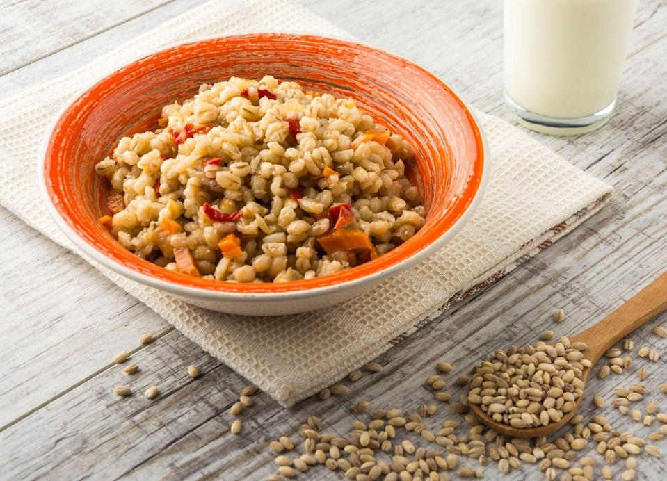 """<p>Not only is barley a fiber-rich whole grain, offering 6 grams per cooked cup, but it's also a top source of a beta-glucans, a special type of fiber with a bevy of potential health benefits. When it comes to cancer prevention, <a href=""""https://www.ncbi.nlm.nih.gov/pmc/articles/PMC6479769/"""" rel=""""nofollow noopener"""" target=""""_blank"""" data-ylk=""""slk:some studies"""" class=""""link rapid-noclick-resp"""">some studies </a>have found that beta-glucans may exhibit anti-inflammatory and anti-tumor activity.</p><p><strong>Try it:</strong> <a href=""""https://www.prevention.com/food-nutrition/recipes/a20503863/warm-kale-and-barley-salad-with-dill/"""" rel=""""nofollow noopener"""" target=""""_blank"""" data-ylk=""""slk:Warm Kale-and-Barley Salad with Dill"""" class=""""link rapid-noclick-resp"""">Warm Kale-and-Barley Salad with Dill</a></p>"""