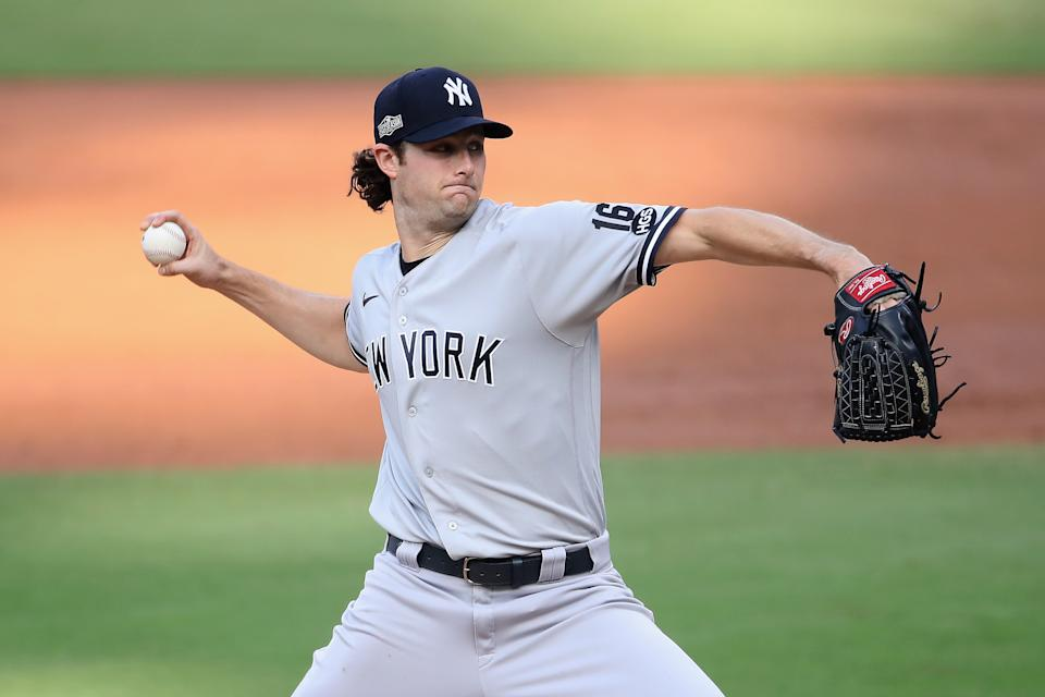 SAN DIEGO, CALIFORNIA - OCTOBER 09: Starting pitcher Gerrit Cole #45 of the New York Yankees pitches against the Tampa Bay Rays in Game Five of the American League Division Series at PETCO Park on October 09, 2020 in San Diego, California. (Photo by Christian Petersen/Getty Images)