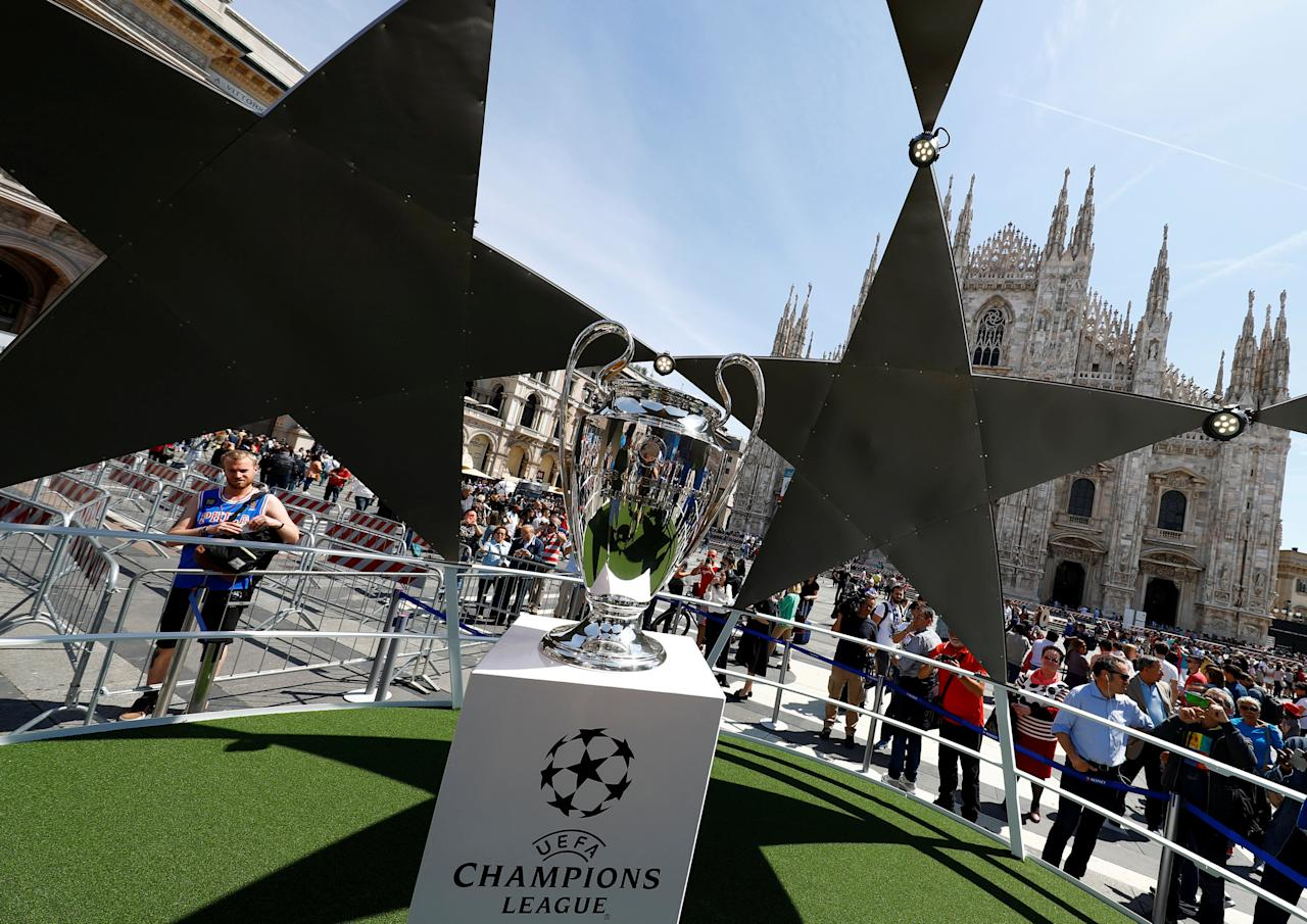 The UEFA Champions League trophy is displayed at the Duomo square in Milan, Italy, May 26, 2016. REUTERS/Pawel Kopczynski