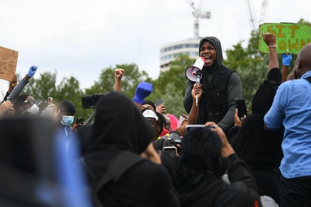Actor John Boyega speaks at a Black Lives Matter protest rally in Hyde Park, London, in memory of George Floyd who was killed on May 25 while in police custody in the US city of Minneapolis