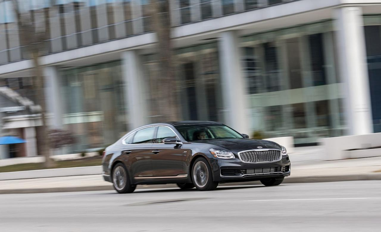 """<p>Count us among that group, <a rel=""""nofollow"""" href=""""https://www.caranddriver.com/reviews/a15106654/2015-kia-k900-v-8-long-term-test-wrap-up-review/"""">what with the 40,000 miles we racked up on a 2015 K900 V-8 model</a>. While the new version, much like the original, still leaves us scratching our heads as to its sedate poshness and how well it works on a Kia, it is, hands down, a better-driving and more sweetly realized vehicle.</p>"""