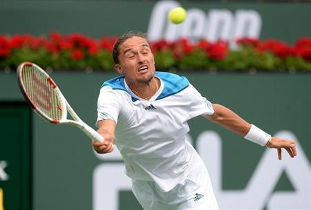 Mar 13, 2014; Indian Wells, CA, USA; Alexandr Dolgopolov (UKR) during his quarter final match against Milos Raonic (CAN) at the BNP Paribas Opoen at the Indian Wells Tennis Garden. Dolgopolov won 6-3, 6-4. Mandatory Credit: Jayne Kamin-Oncea-USA TODAY Sports