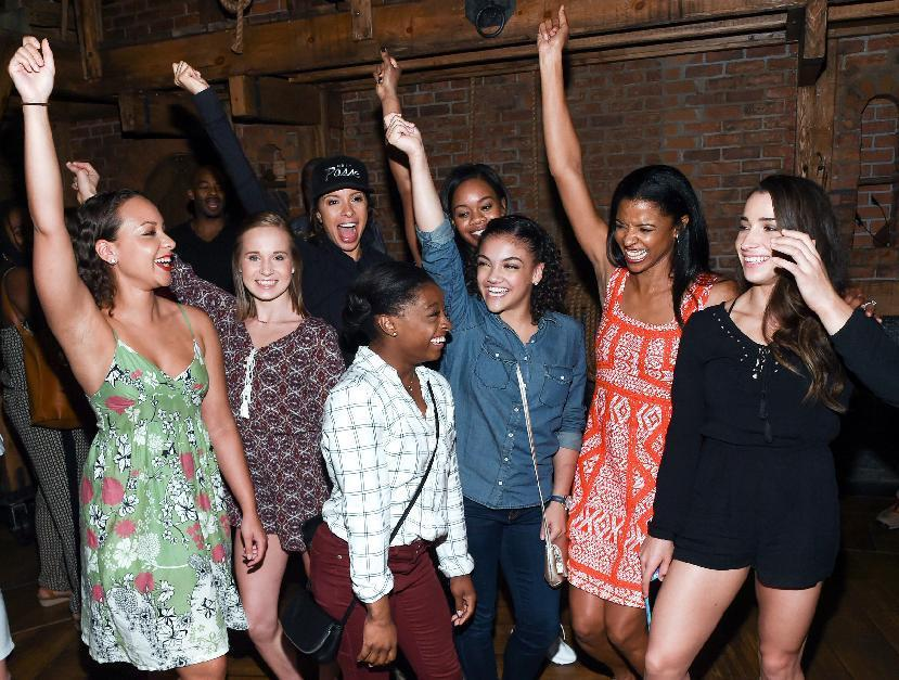 """Members of the """"Final Five"""" Rio Olympics gold medal winning U.S. Gymnastics team,Madison Kocian, Simone Biles, Gabby Douglas, Laurie Hernandez, and Aly Raisman pose with """"Hamilton"""" actors who play the Schuyler sisters, Jasmine Cephas Jones, Lexi Lawson and Renee Elise Goldsberry backstage after attending the performance at the Richard Rogers Theatre on Tuesday, Aug. 23, 2016, in New York. (Photo by Evan Agostini/Invision/AP)"""