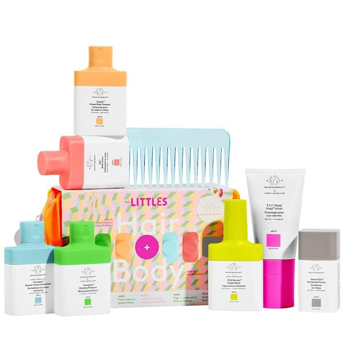 """<p><strong>Drunk Elephant</strong></p><p>sephora.com</p><p><strong>$49.00</strong></p><p><a href=""""https://go.redirectingat.com?id=74968X1596630&url=https%3A%2F%2Fwww.sephora.com%2Fproduct%2Fdrunk-elephant-the-littles-head-to-toe-P459142%3FskuId%3D2429702%26icid2%3Dskugrid%253Ap459142&sref=https%3A%2F%2Fwww.bestproducts.com%2Fbeauty%2Fg256%2Fchristmas-holiday-beauty-gifts%2F"""" rel=""""nofollow noopener"""" target=""""_blank"""" data-ylk=""""slk:Shop Now"""" class=""""link rapid-noclick-resp"""">Shop Now</a></p><p>This nine-piece skincare set will make <em>anyone </em>on your wish list crack a smile. It's an adorable beauty gift set that's filled with best-sellers from Drunk Elephant's skin and haircare lines, such as their T.L.C. Happi Scalp Scrub, Sweet Pitti Deodorant Cream, and much more. </p><p>It also comes with a chic neon orange bag to stuff your new skincare haul in and a light blue comb to keep your tresses in check.<em><br></em></p>"""