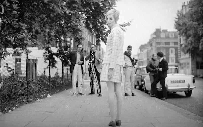 Twiggy on the King's Road in 1966 - This content is subject to copyright.