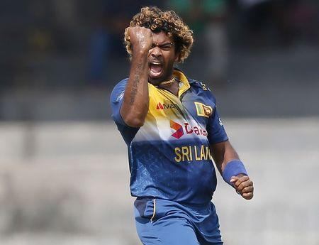 FILE PHOTO - Sri Lanka's Lasith Malinga celebrates after taking the wicket of West Indies' Andre Fletcher (not pictured) during their second One Day International cricket match in Colombo November 4, 2015. REUTERS/Dinuka Liyanawatte