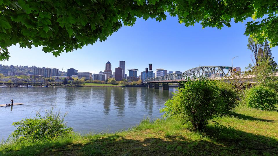 Hawthorne bridge on Willamette river with cityscape and skyline in portland - Image.