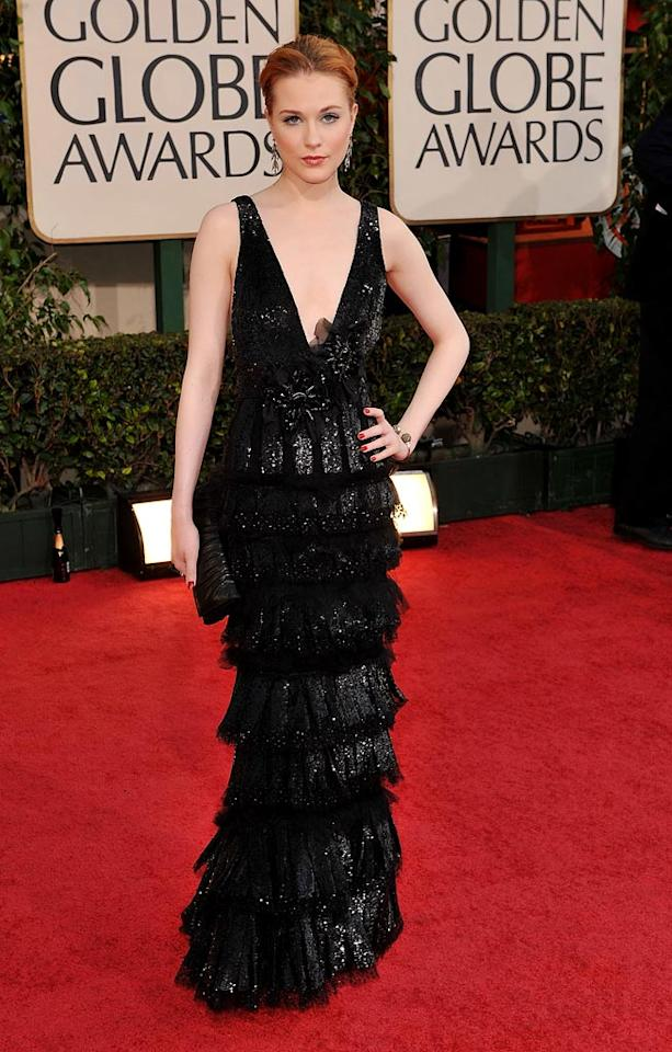 """Evan Rachel Wood arrives at the 66th Annual Golden Globe Awards in Beverly Hills. Steve Granitz/<a href=""""http://www.wireimage.com"""" target=""""new"""">WireImage.com</a> - January 11, 2009"""