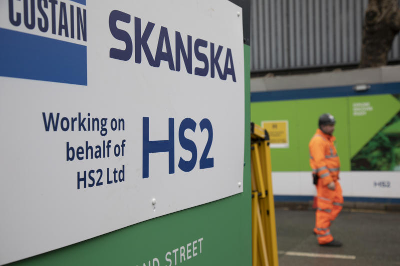 With an imminent decision expected from the government which will determine if the controversial transport project will continue to go ahead, construction workers continue their job on HS2 at Euston Railway Station on 30th January 2020 in London, England, United Kingdom. High Speed 2 is a high-speed railway in the United Kingdom, partly under construction. Parliament approved plans for the first section in 2017, with clearance work being undertaken for the line and stations. (photo by Mike Kemp/In Pictures via Getty Images)
