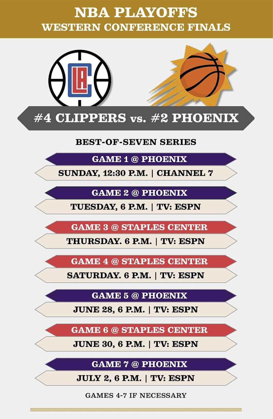 Clippers-Suns finals schedule