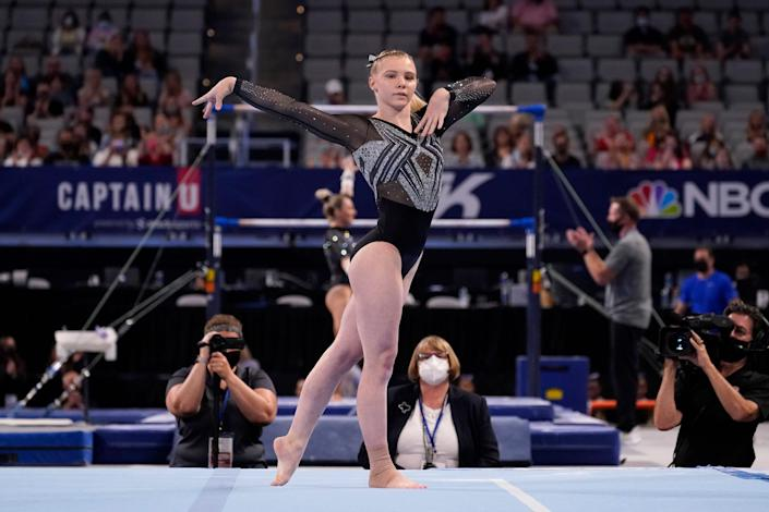 Jade Carey competes in the floor exercise during the U.S. Gymnastics Championships on June 4, 2021, in Fort Worth, Texas.