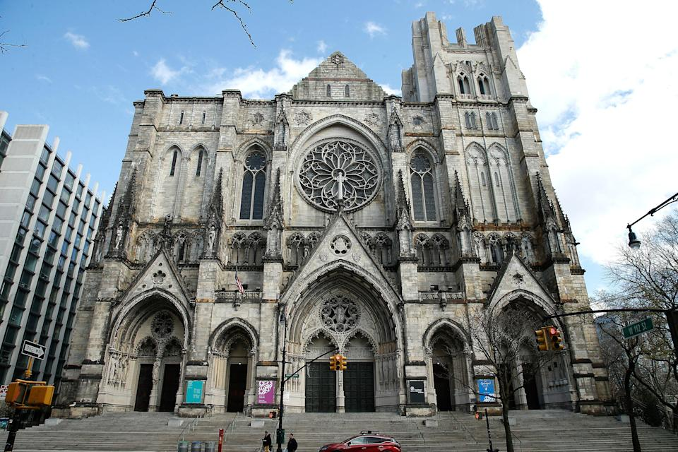 """<a href=""""https://www.cntraveler.com/gallery/the-most-beautiful-churches-in-the-world?mbid=synd_yahoo_rss"""" rel=""""nofollow noopener"""" target=""""_blank"""" data-ylk=""""slk:St. Patrick's Cathedral"""" class=""""link rapid-noclick-resp"""">St. Patrick's Cathedral</a> is perhaps the best known of New York City's holy sites, but also worth a visit is the Cathedral of St. John the Divine, further uptown. Situated at 112th and Amsterdam in Morningside Heights, the gargantuan Gothic Revival cathedral is the largest Episocopal church in the world. Important works of art lie within, including a Keith Haring altarpiece of white gold and bronze, carved with the artist's signature figures—one of his last works before dying of AIDS. Take a tour up to the top, where you'll get a humbling view of the bustling city from above. (Guests are even allowed to stand on a buttress.)"""