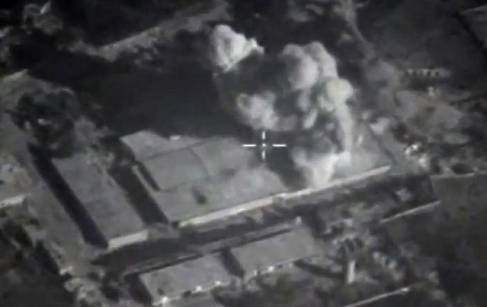 An image made available on November 23, 2015, purports to show an explosion after airstrikes carried out by Russian air force on what Russia says was an Islamic State facility in the Syrian province of Idlib (AFP Photo/)