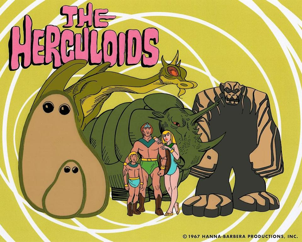 From left, Gloop and Gleep the formless, fearless wonders; Zok the laser ray dragon; Tundro the Tremendous; Dorno, Zandor, and Tara; and Igoo the rock ape. They're The Herculoids!