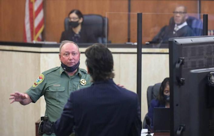 Department of natural Resources agent Bubba Morris testifies to where the body of Samantha Josephson was found during the trial of Nathaniel Rowland on Wednesday, July 21, 2021 in Richland County Circuit Court. Rowland is accused of killing Samantha Josephson after luring her into his car.