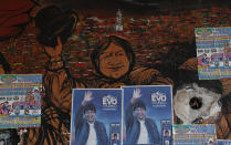 Posters of former Bolivian President Evo Morales adorn a wall in El Alto, Bolivia, Thursday, Oct. 15, 2020. Bolivia will hold general elections on Sunday, although Morales is not a candidate. (AP Photo/Juan Karita)