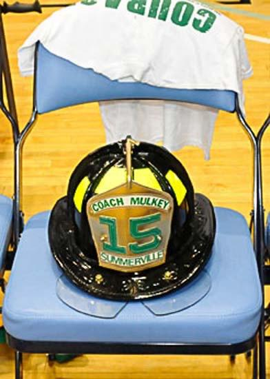 The helmet in Mulkey's seat at the State Championship game vs. Spartanburg