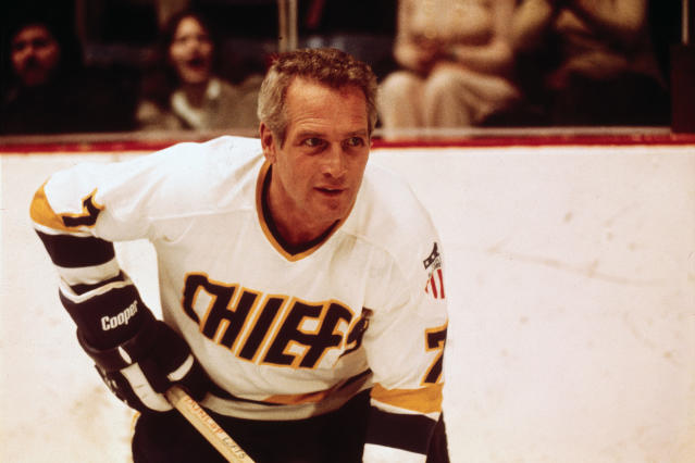 "This undated photo provided Courtesy of Universal Pictures shows actor Paul Newman in a scene from the movie ""Slap Shot,"" voted No. 5 in The Associated Press' Top 25 favorite sports movies poll. (Courtesy of Universal Pictures via AP)"