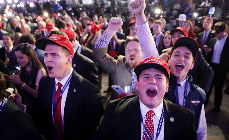 """A triumphant Donald Trump declared the """"forgotten men and women of our country will be forgotten no longer"""". Source: Getty"""